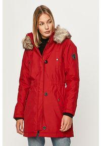 Czerwona kurtka only na co dzień, z kapturem, casualowa