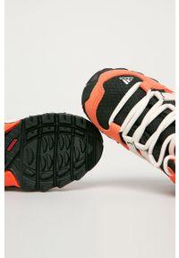 Pomarańczowe buty zimowe adidas Performance z cholewką, na zimę, z nadrukiem, na sznurówki
