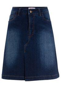 Miękka spódnica dżinsowa ze stretchem bonprix ciemnoniebieski. Kolor: niebieski