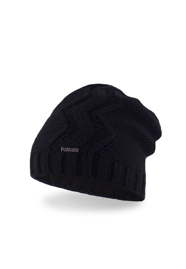 Czarna czapka zimowa PaMaMi w prążki, sportowa