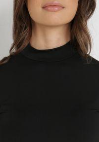Born2be - Czarna Sukienka Phenolea. Kolor: czarny. Materiał: dzianina. Długość rękawa: długi rękaw. Wzór: gładki. Styl: elegancki. Długość: mini
