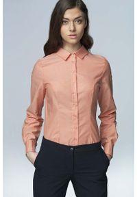 Nife - Łososiowa Klasyczna Bawełniana Koszula. Kolor: różowy. Materiał: bawełna. Styl: klasyczny