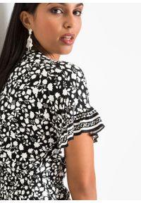 Sukienka z nadrukiem LENZING™ ECOVERO™ bonprix czarno-biel wełny w roślinny wzór. Kolor: czarny. Materiał: wełna. Wzór: nadruk