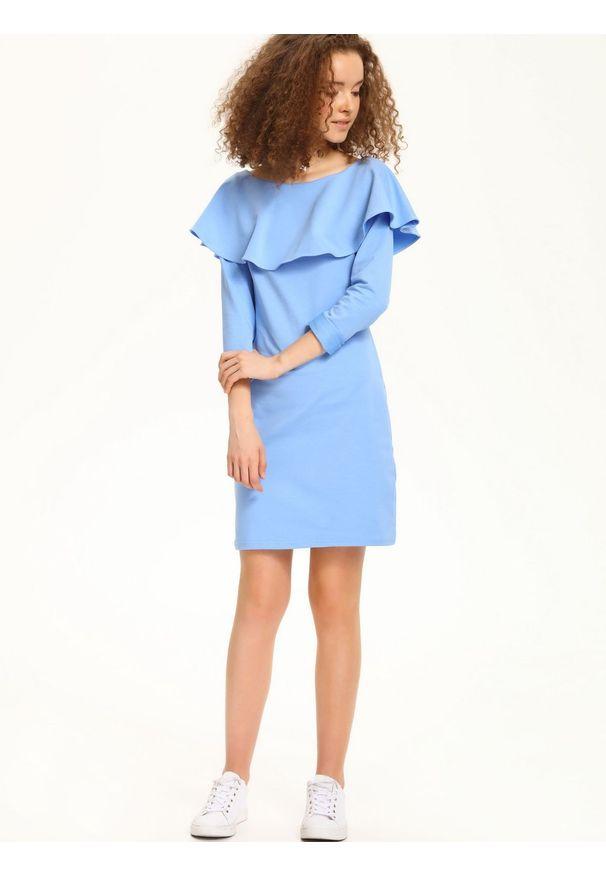 Niebieska sukienka TROLL na lato, z długim rękawem