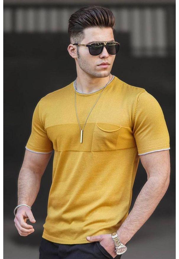 IVET - T-shirt męski DUNCAN YELLOW. Okazja: na co dzień. Kolor: żółty. Materiał: bawełna. Styl: casual