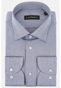 Lancerto - Koszula Szara w Jodełkę Lorna. Kolor: szary. Materiał: bawełna, jeans, tkanina, wełna. Wzór: jodełka