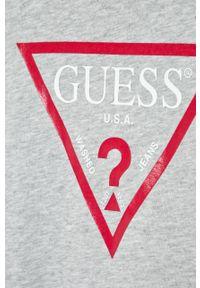 Szara bluza Guess Jeans z okrągłym kołnierzem, na co dzień, z nadrukiem, casualowa