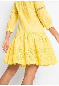 Sukienka z haftem bonprix żółty cytrynowy. Kolor: żółty. Wzór: haft