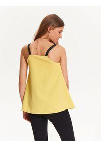 Żółta bluzka TROLL na ramiączkach, na imprezę, z dekoltem w serek, na zimę #6