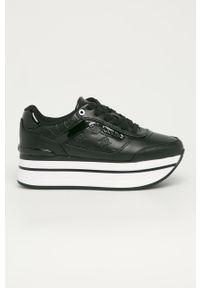 Czarne buty sportowe Guess na sznurówki, na średnim obcasie, na obcasie, z cholewką