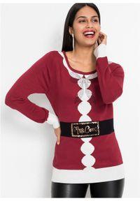 Czerwony sweter bonprix z kontrastowym kołnierzykiem