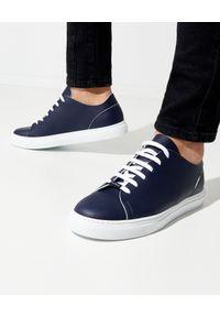 Baldinini - BALDININI - Skórzane granatowe sneakersy. Zapięcie: sznurówki. Kolor: biały. Materiał: skóra. Wzór: gładki
