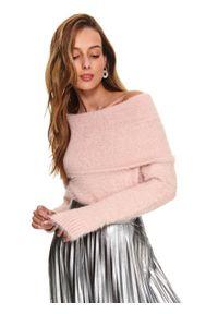 Różowy sweter TOP SECRET z golfem, długi, z długim rękawem