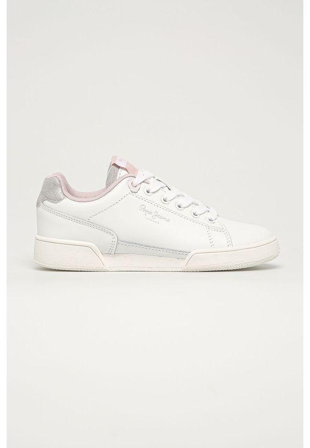 Białe buty sportowe Pepe Jeans z cholewką, na sznurówki, z okrągłym noskiem
