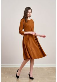 Marie Zélie - Sukienka Andrea wełniana cynamonowa. Kolor: brązowy. Materiał: wełna. Typ sukienki: rozkloszowane. Styl: klasyczny