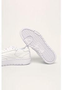 Białe buty sportowe Reebok Classic na sznurówki, z cholewką, z okrągłym noskiem