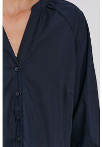 Y.A.S - Sukienka. Typ kołnierza: kołnierzyk stójkowy. Kolor: niebieski. Materiał: bawełna, tkanina. Długość rękawa: długi rękaw. Wzór: gładki. Typ sukienki: rozkloszowane