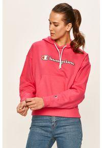 Różowa bluza Champion z kapturem, casualowa, z aplikacjami