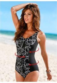 Kostium kąpielowy wyszczuplający bonprix czarno-szary. Kolor: czarny