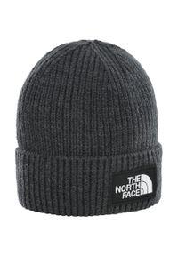 Szara czapka The North Face na zimę