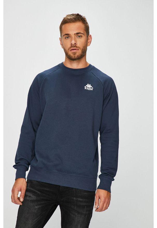 Niebieska bluza nierozpinana Kappa bez kaptura, casualowa, na co dzień