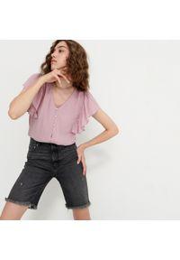 House - Bluzka z kreszowanej tkaniny - Różowy. Kolor: różowy. Materiał: tkanina
