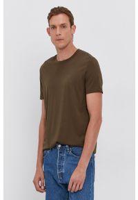 BOSS - Boss - T-shirt bawełniany. Okazja: na co dzień. Kolor: zielony. Materiał: bawełna. Wzór: gładki. Styl: casual