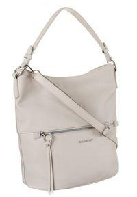 DAVID JONES - Shopper bag ecru David Jones 6518-1 CREAMY-WHITE. Materiał: skórzane