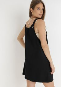 Born2be - Czarna Sukienka Thyrly. Kolor: czarny. Materiał: bawełna. Długość rękawa: na ramiączkach. Typ sukienki: sportowe. Styl: sportowy. Długość: mini