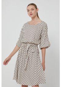 medicine - Medicine - Sukienka Basic. Kolor: beżowy. Materiał: tkanina. Typ sukienki: rozkloszowane