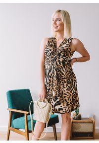 Sukienka Fanaberia.com z kokardą, z motywem zwierzęcym