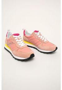 Różowe buty sportowe Guess Jeans z cholewką, na sznurówki
