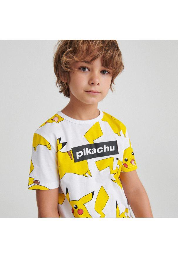 Reserved - Bawełniany t-shirt Pokémon - Biały. Kolor: biały. Materiał: bawełna