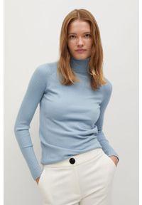 Niebieski sweter mango z golfem, długi #8