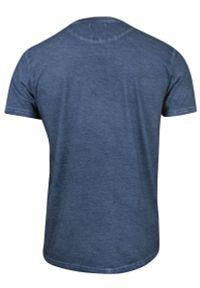 Niebieski t-shirt Brave Soul na co dzień, z nadrukiem