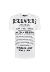 T-shirt DSQUARED2 na co dzień, casualowy, z okrągłym kołnierzem