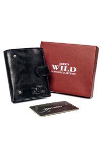 ALWAYS WILD - Portfel męski czarny Always Wild N20197L-VTK-N-4596 B. Kolor: czarny. Materiał: skóra. Wzór: aplikacja