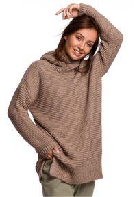 Sweter długi, z długim rękawem, z golfem