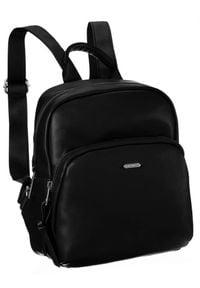 DAVID JONES - Plecak damski czarny David Jones CM6072 BLACK. Kolor: czarny. Materiał: skóra ekologiczna. Wzór: gładki