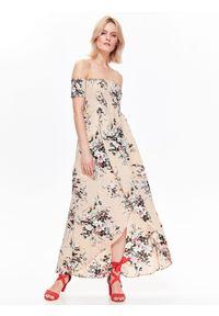 Beżowa sukienka TOP SECRET na co dzień, w kwiaty