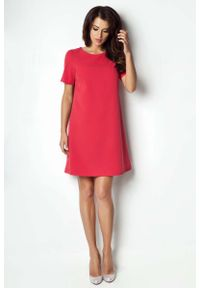 Czerwona sukienka IVON z krótkim rękawem, trapezowa