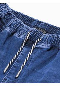 Ombre Clothing - Spodnie męskie joggery P1057 - ciemnoniebieskie - XXL. Kolor: niebieski. Materiał: bawełna, jeans, elastan