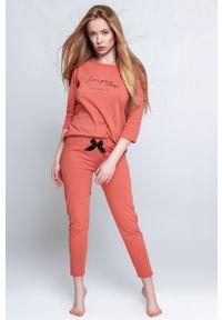 Sensis - Piżama Hypnotic. Kolor: pomarańczowy. Materiał: dzianina. Wzór: nadruk