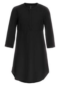 Czarna sukienka bonprix z koszulowym kołnierzykiem, koszulowa