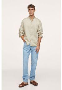 Mango Man - Koszula bawełniana NUORO-I. Typ kołnierza: kołnierzyk stójkowy. Kolor: beżowy. Materiał: bawełna. Długość rękawa: długi rękaw. Długość: długie. Wzór: gładki