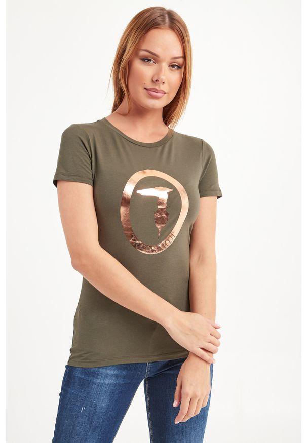 T-shirt Trussardi Jeans w kolorowe wzory, na co dzień, casualowy