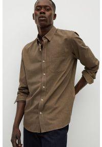 Brązowa koszula Mango Man z długim rękawem, długa, klasyczna, z klasycznym kołnierzykiem