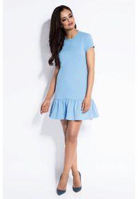Dursi - Błękitna Dresowa Sukienka z Falbanką na Dole. Kolor: niebieski. Materiał: dresówka