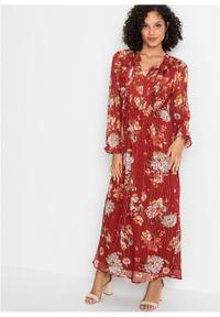 Długa sukienka z nadrukiem bonprix czerwonobrązowy w kwiaty. Kolor: czerwony. Wzór: kwiaty, nadruk. Długość: maxi