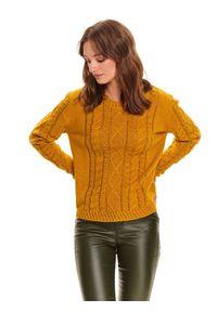 Żółty sweter TOP SECRET w ażurowe wzory